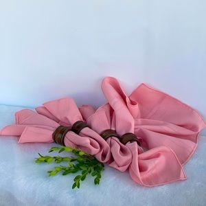 Soft Pink Dinner/Tea Napkins and Wooden Rings